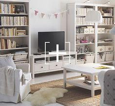 Entertainment Center, Ikea, Hemnes, White Stain, Bookcase White, Living  Rooms, Catalog, Bookcases, Stains Great Ideas