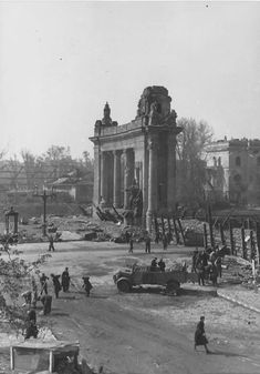 Ruins of Berlin 1945 after WWII. The Nazi's controlled this area for the longest time until the USA stepped in and helped take it back. The Nazi's took over Berlin so they can keep in contact with the concentration camps.