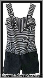 NWT My Michelle Girls Striped Romper w/Butterflies-Attached Denim Shorts -Size 8 - Re-list March 28, 2013 - Sold April 4, 2013