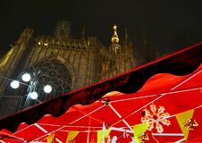 View to Duomo of Milan during Christmas. Stock Photo