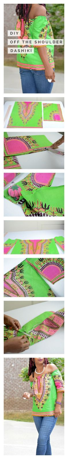 Learn how to make a DIY dashiki off the shoulder top with step by step directions. See the full tutorial here, sewing, african print, ankara print, african fashion