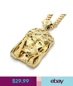 """Necklaces & Pendants Mens 14K Gold Plated 30"""" Cuban Chain Black Eyed Crowned Jesus Large Necklace #ebay #Fashion"""
