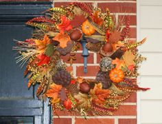 Holiday Acorn Wreath Fall Wreath Thanksgiving Leaves by hgab129, $65.00