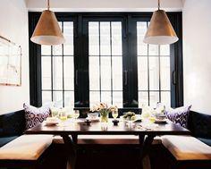 Suzie: Lonny Magazine - Christina Murphy - Glossy black window moldings, U shaped built-in ...