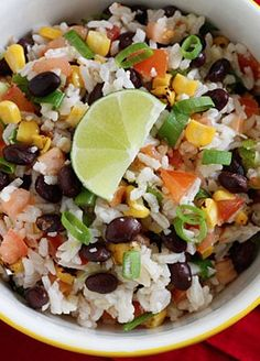 Fiesta Lime Rice! Perfect side dish for when you make Skinny Mom's, Skinny Easy Beef Enchiladas! | skinny taste - From http://pinterest.com/pin/227361481160713223/