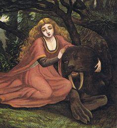 Beauty and the Beast by Eleanor Vere Boyle Fairytale Fantasies, Fairytale Art, Beauty And The Beast Art, Beast's Castle, John Everett Millais, Faeries, Art Blog, Illustrators, Fairy Tales