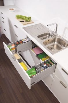 10 Elegant Roll-out Drawers For Any Room You Love : Cabinets are suitable to be made use of as storage space for any type of room. From the bedroom, dining room, kitchen, as well as much more. Among the most preferred types of drawers is the roll-out one. Kitchen Room Design, Kitchen Cabinet Design, Modern Kitchen Design, Home Decor Kitchen, Rustic Kitchen, Interior Design Kitchen, Kitchen Furniture, Room Kitchen, Dining Room