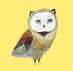 Art print  yellow owl print owl art poster 8x10 by by O2Optimist, $14.00
