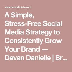 A Simple, Stress-Free Social Media Strategy to Consistently Grow Your Brand — Devan Danielle | Bringing bold visions to life through real direction.