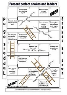The game can be adapted for any grammar item.The template is based on another Present Perfect snakes and ladders game in the book:  Grammar Games, Mario Rinvolucri - ESL worksheets