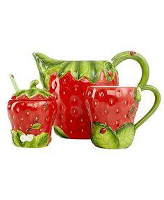 Martha stewart collection serveware strawberry jam jar - Strawberry kitchen decorations ...