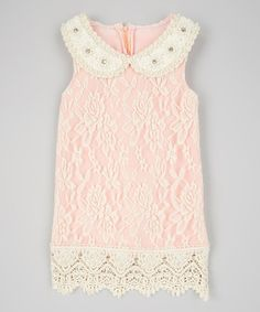 Love this Ivory & Pink Lace Dress & Bib Necklace - Toddler & Girls on #zulily! #zulilyfinds