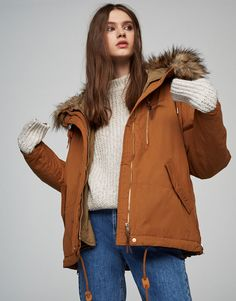 Pull&Bear - woman - clothing - coats and jackets - parka with detachable lining and faux fur hood - toffee - 09710313-V2017