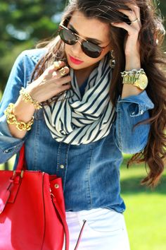 stripe scarf, chambray shirt, white jeans