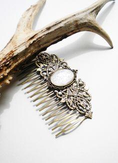 Grand Peigne pour cheveux bronze et Nacré: Mytrilin : Accessoires coiffure par caladhiel