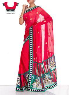 Alluring Red Georgette #Saree