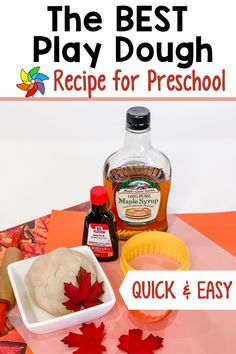 Are you looking for an easy play dough recipe that takes minutes to make? This sweet maple scented play dough recipe is perfect for preschoolers. This is a great sensory activity you can use during your preschool centers. Students love learning through play with this play dough recipe. Create a play dough station where preschoolers can to pretend to make pancakes. They absolutely love using their imagination as they play! Senses Preschool, Preschool Decor, Preschool Art Projects, Preschool Centers, Best Playdough Recipe, Sensory Activities For Preschoolers, Sensory Bottles, Pure Maple Syrup, Play Dough