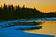 The Kenai River starts to thaw in Soldotna, Alaska