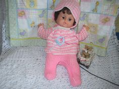 Sweet Dark Haired Doll with Pink and White Knitted Outfit and Binky / :)