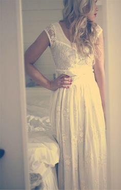 White Wedding Lace Gathered Flowy Maxi Sleeve Dress inspiration