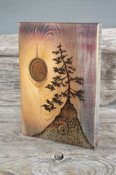 Ancient Tree Art Block Woodburning van TwigsandBlossoms op Etsy