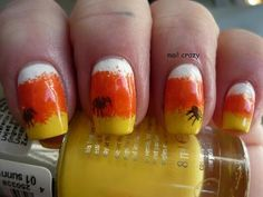 DIY halloween nails: DIY Halloween nail art : Halloween nail art challenge - Corn candy