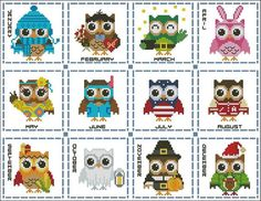 Hooties Year Round Minis #2 Collection Cross Stitch PDF Chart