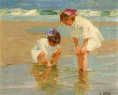 Edward Potthast, American painter that painted lovely paintings of children at the seashore. A personal favorite.