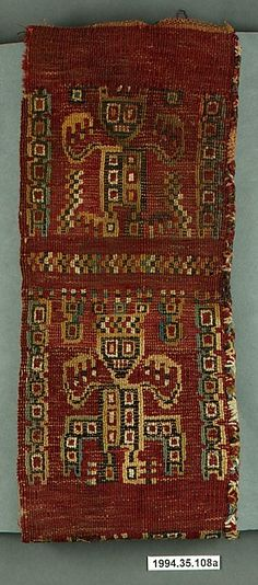 Headband, Wari culture, Peru, 7th-10th century. Metropolitan Museum of Art, Online Collection.