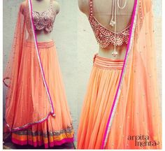 Arpita Mehta # lehenga # peach love # Indian fashion