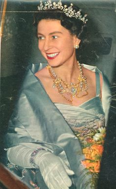 1950's wearing Queen Alexandra's Dagmar Necklace without the cross; not seen often.