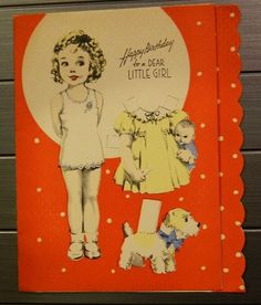 Antique VINTAGE UNCUT 1930s SHIRLEY TEMPLE Paper Doll Birthday Card Terrier Cat