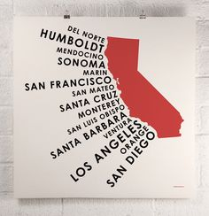 Typographic Northern Californian surf spots by Orange & Park