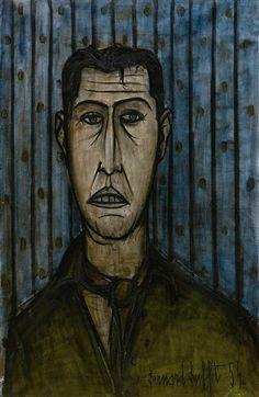Bernard Buffet - Portrait of a Man in Scarf; Creation Date: 1954; Medium: oil on canvas; Dimensions: 36.02 X 23.54 in (91.5 X 59.8 cm)