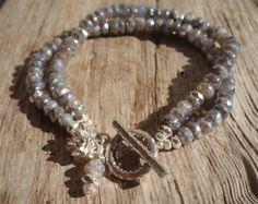 Sterling silver & AB labradorite double bracelet by kudzupatch, $75.00