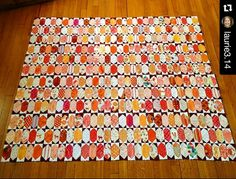 Laurie is plugging away on her lozenges leader and ender challenge from a couple years ago! I love the fabrics and colors she has chosen for this quilt. 80% done and 20% left! Getting closer! Free pattern found under the free patterns tab at the top of my blog. Http://quiltville.blogspot.com   @laurie3.14 ・・・ Catching the last rays of sunlight before it rains for three days.  I've finished 360 individual orange lozenges which means I'm 80% done.