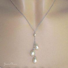 Bridal Pearl Necklace  Triple Pearl Drop Wedding by JaniceMarie