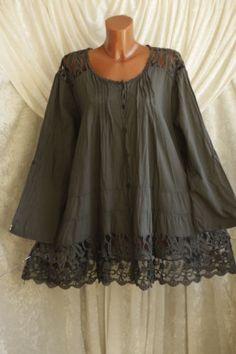 Shirt Vintage Tunika Batik Italy Bluse Hängerchen Baumwolle Ballon Grün 46 48