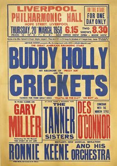Buddy Holly and The Crickets - Liverpool concert poster, Thursday 20th March, 1958