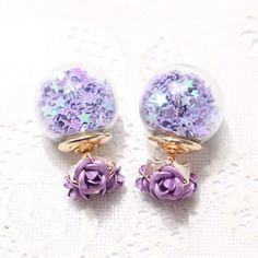 Fashion Korea Rose Flower Wishing Star Pearl Earrings Glass Crystal Ball Double Sided in Stud Earrings For Women Fine Jewelry