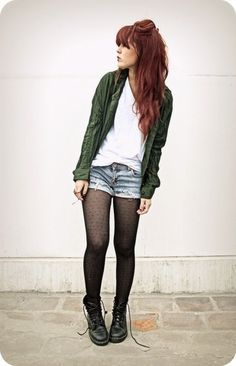 Shorts and patterned tights. For days when it's warm enough, but you'd rather look covered. Boots, cardigan, maybe.