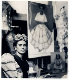 Frida Kahlo in the studio of Diego Rivera by Nickolas Muray