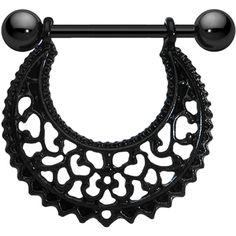 Body Candy Black Artistic Swirls Nipple Shield Set of 2 Body Jewelry Piercing, Body Jewellery, Body Piercings, Piercing Tattoo, Jewelry Box, Jewelery, Jewelry Accessories, Candy Jewelry, Tat Rings