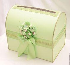 """Купить Сундучок для денег """"Симона """" - зеленый, свадебные аксессуары, свадебный аксессуар, свадьба"""