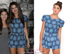 Selena Gomez looked cute at her Stars Dance Tour Lisbon meet & greet yesterday wearing a Motel Rocks Hoppy Cap Sleeve Playsuit in color . Selena Gomez Outfits, Selena Gomez Closet, Blue Jumpsuits, Vintage Glam, Embellished Top, Latest Outfits, Cute Pattern, How To Look Pretty