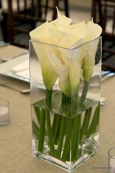 Calla Lily Centerpiece in Water | Jarrón cuadrado con calas blancas