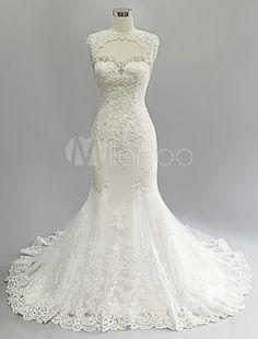 Elfenbein Hochzeit Kleid Mermaid rückenfreie Ausschnitt Lace Brautkleid