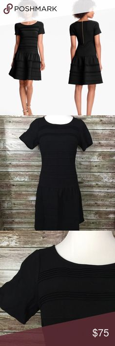 Eliza J Black Seamed Drop Waist LBD Dress 12 Prominent seams texturally stripe the length of a short-sleeve dress detailed with a slight ruffle marking the dropped waist. Excellent like new condition. - Exposed back-zip closure - Unlined - 68% rayon, 27% nylon, 5% spandex - Dry clean Eliza J Dresses