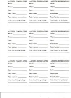 Artistic Trading Card ATC BACK Blank Template 25 X 35 Plain Black Lines Ink Saver