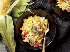 Late summer harvest of fresh corn shines in this simple Creamy Corn Risotto. Risotto Recipes, Pasta Recipes, Dinner Recipes, Frozen Corn Recipes, Cooking Light Recipes, Gluten Free Sides Dishes, Vegetarian Recipes, Healthy Recipes, Veggie Recipes